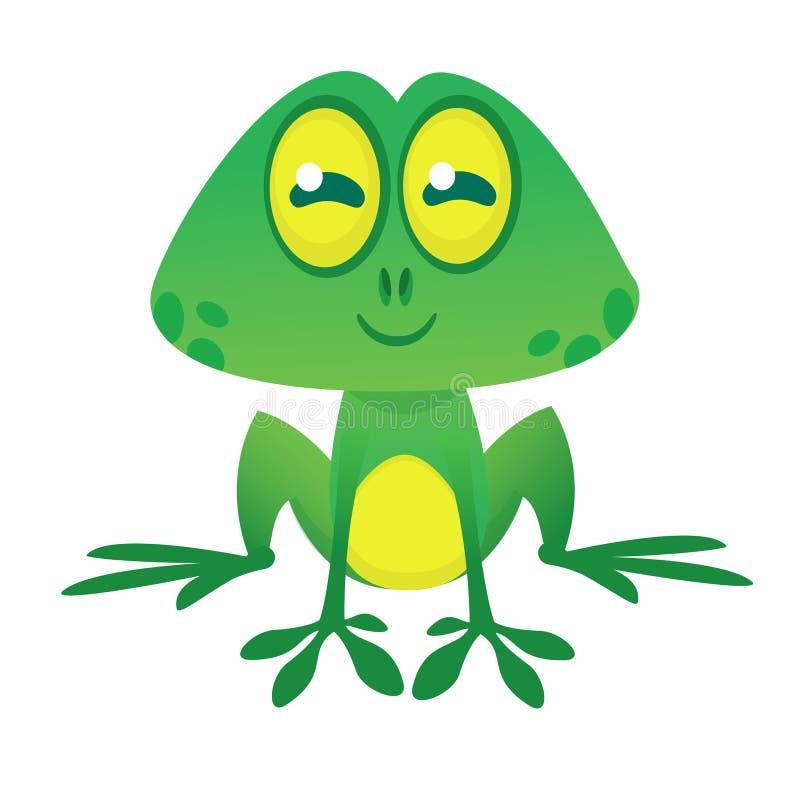 Lustiger Charakter des grünen Frosches in der Karikaturart Auch im corel abgehobenen Betrag Design für Druck lizenzfreie abbildung