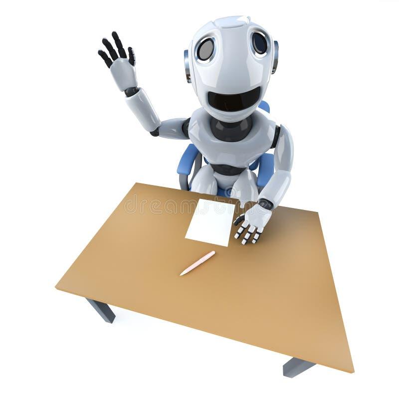 lustiger Charakter des Roboters 3d, der vom begind einen Schreibtisch wellenartig bewegt vektor abbildung