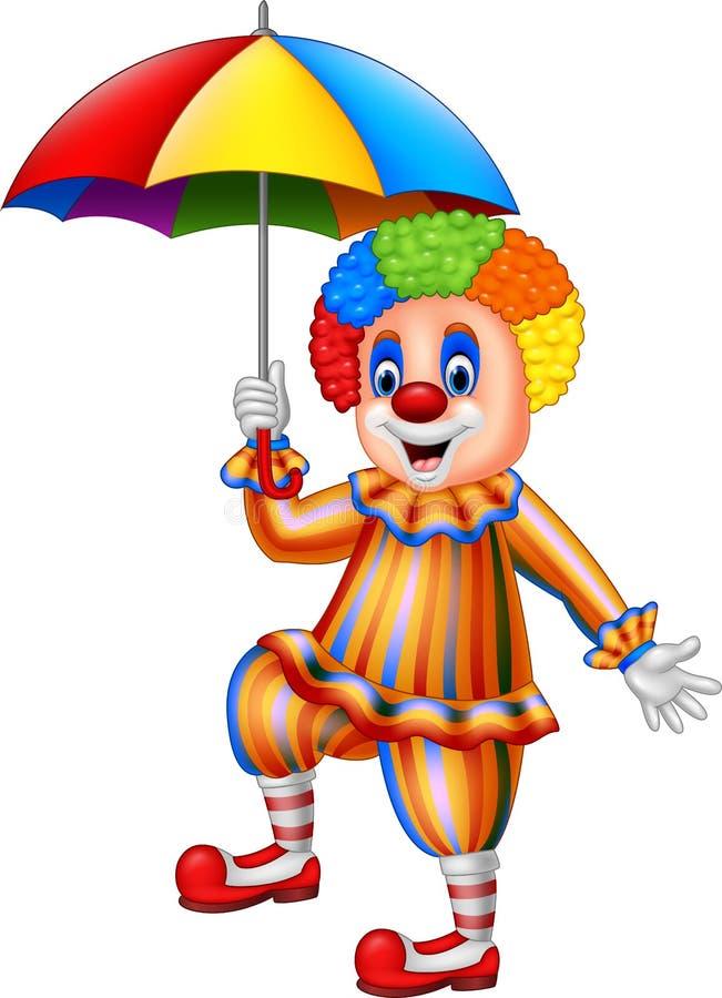 Lustiger Clown der Karikatur, der einen Regenschirm hält vektor abbildung
