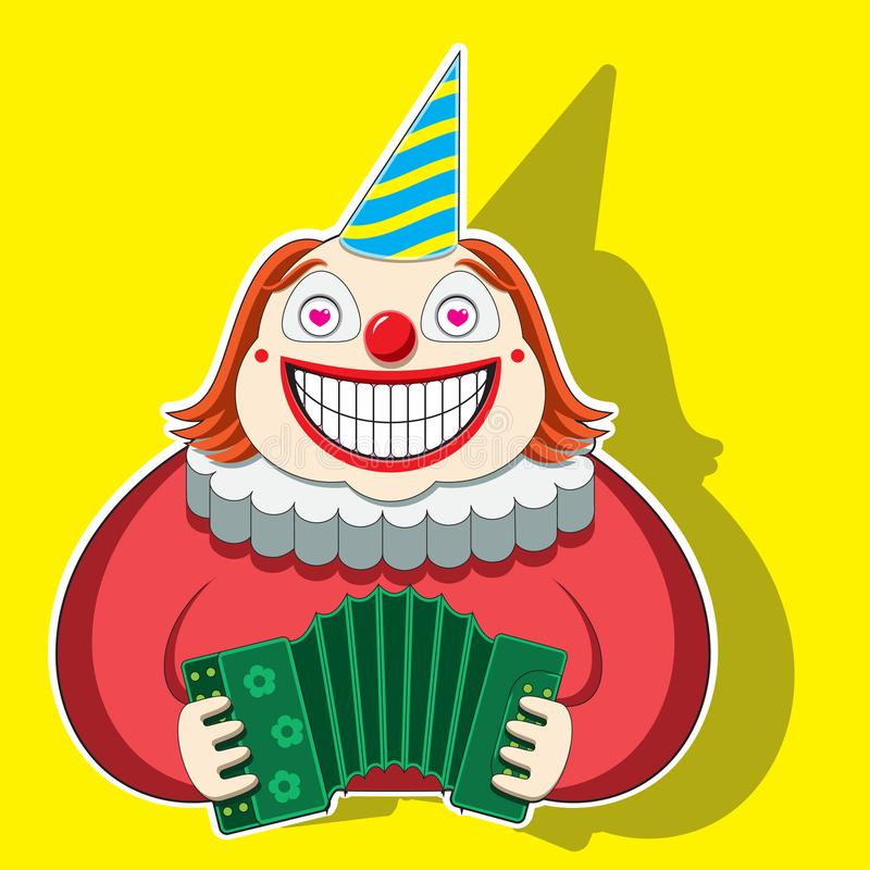 Lustiger Clown des Charakters, der das Akkordeon in einer gestreiften Kappe spielt Regenbogen und Wolke auf dem blauen Himmel stock abbildung