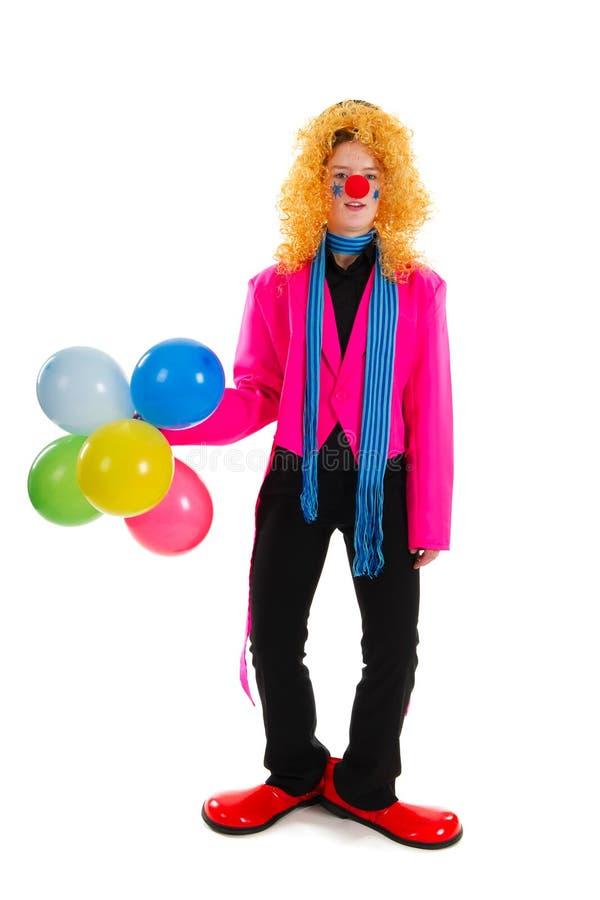 Lustiger Clown im Rosa stockbild