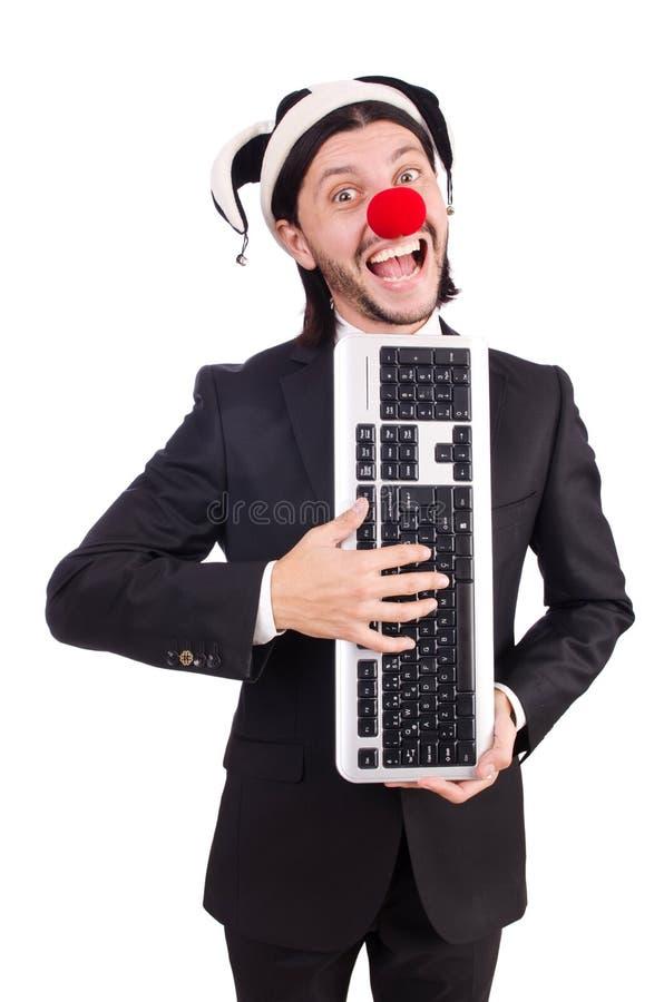 Lustiger Clown mit Tastatur lizenzfreies stockfoto