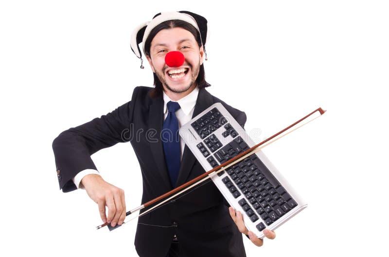 Lustiger Clowngeschäftsmann lokalisiert lizenzfreie stockbilder