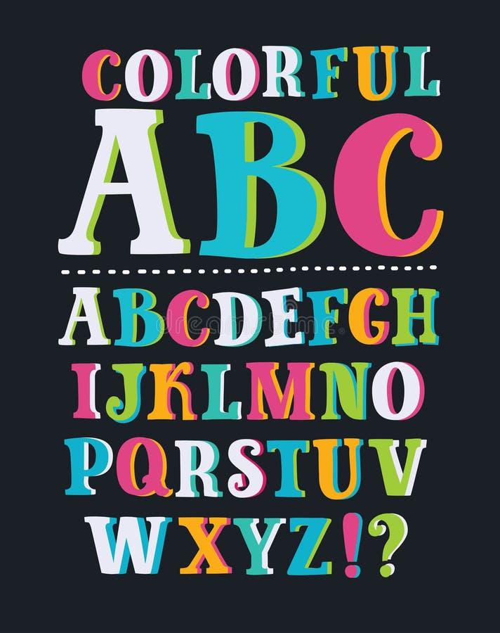 Lustiger Comics-Schrifttyp Vektor-Karikatur-Alphabet mit allen Buchstaben und Zahlen vektor abbildung