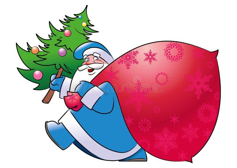 Lustiger Ded Moroz trägt einen Weihnachtsbaum lizenzfreie abbildung