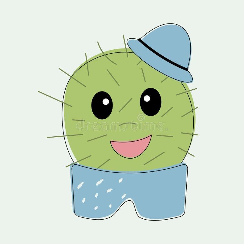 Lustiger einfacher naiver netter Kaktusjunge mit blauem Hut auf Kopf in der Topfhose Für Dekoration von Kindert-shirts, Kleider,  lizenzfreie abbildung