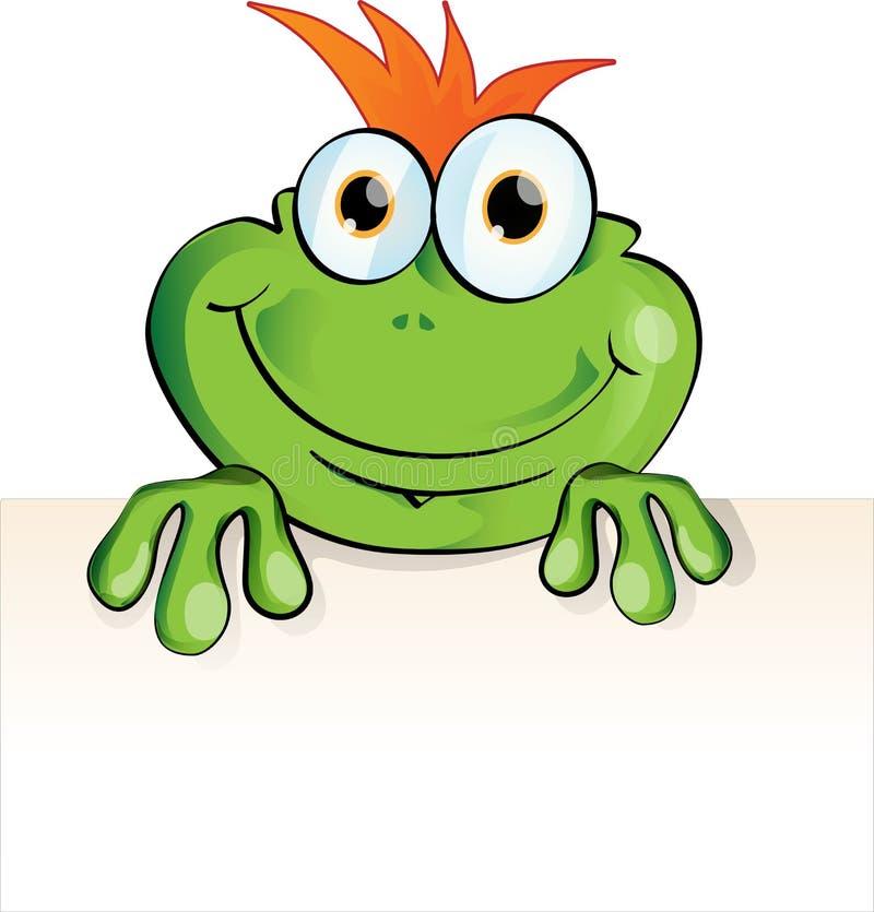 Lustiger Frosch mit Schild stock abbildung