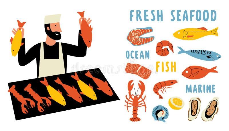 Lustiger Gekritzelsatz der Meeresfrüchte Netter Karikaturmann, Nahrungsmittelmarktverkäufer mit frischen Fischen Hand gezeichnete lizenzfreie abbildung