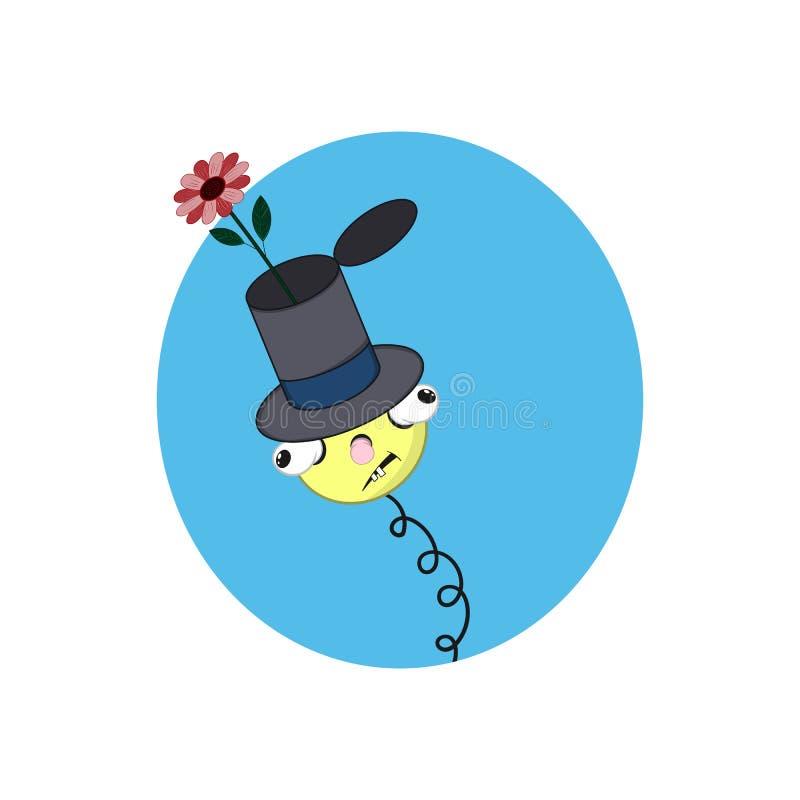 Lustiger gelber Karikaturfrühling im Hut eines Magiers - mit Kopf, Augen und Mund auf einem blauen Hintergrund lizenzfreie abbildung