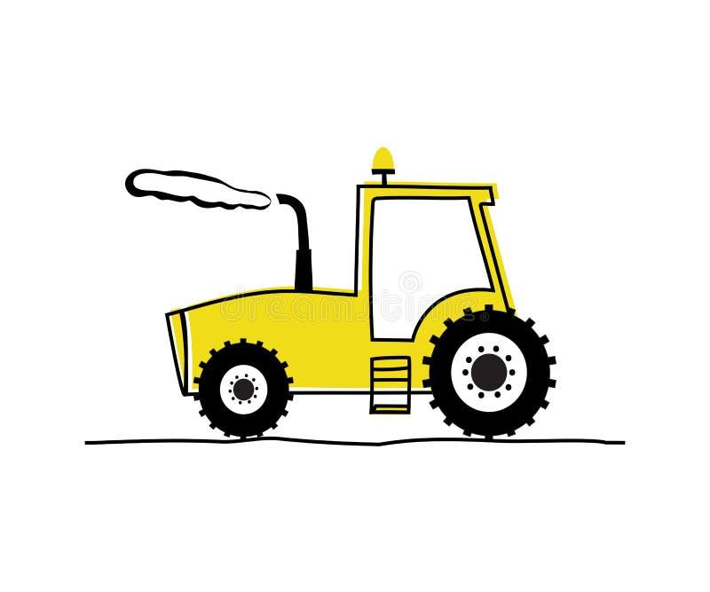 Lustiger gelber Traktor vektor abbildung