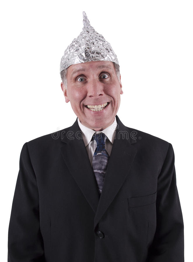 Lustiger Geschäftsmann-Aluminiumhut, Sinnessteuerung stockfoto