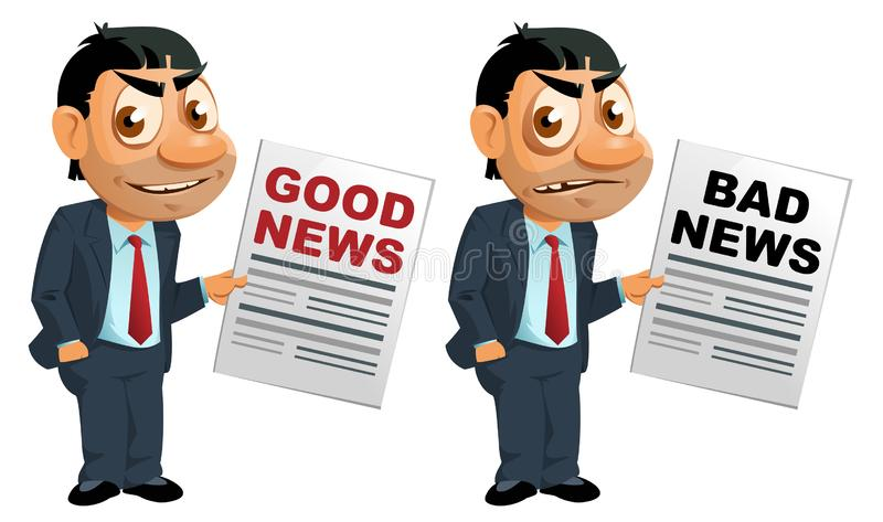 Lustiger Geschäftsmann mit guten Nachrichten und schlechten Nachrichten stock abbildung