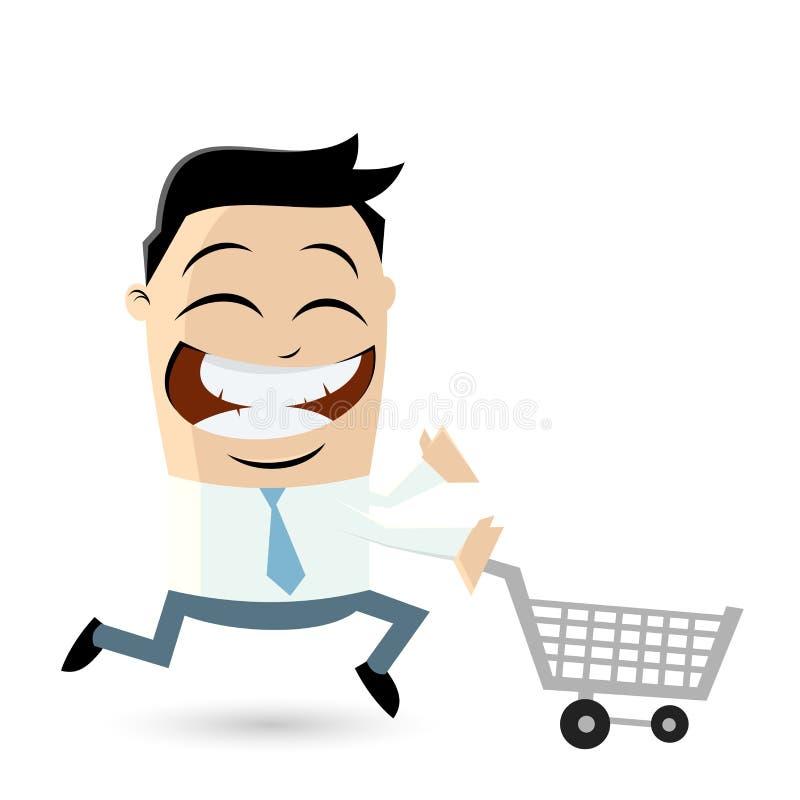 Lustiger Geschäftsmann mit Warenkorb stock abbildung