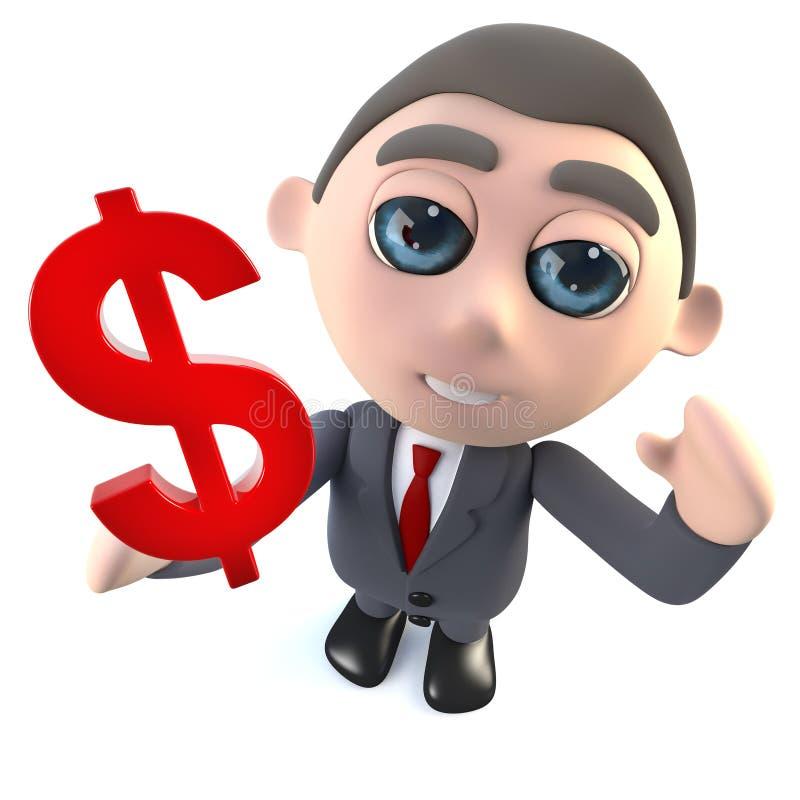 Lustiger Geschäftsmanncharakter der Karikatur 3d, der ein US-Dollar Währungszeichen hält vektor abbildung