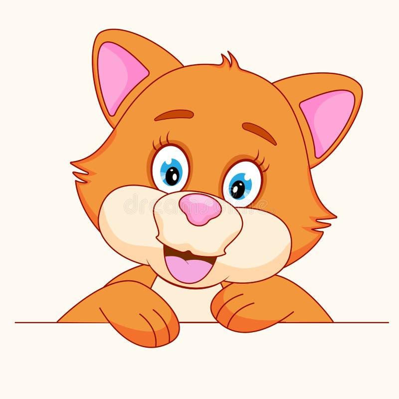 Lustiger Gesichtscharakter der Katze Ein nettes rotes Kätzchenbaby lokalisiert auf weißem Hintergrund vektor abbildung