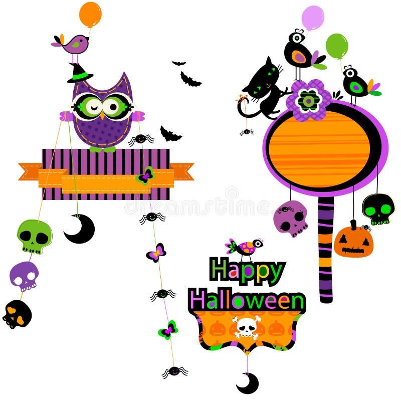Lustiger Gestaltungselementsatz Halloweens lizenzfreie abbildung