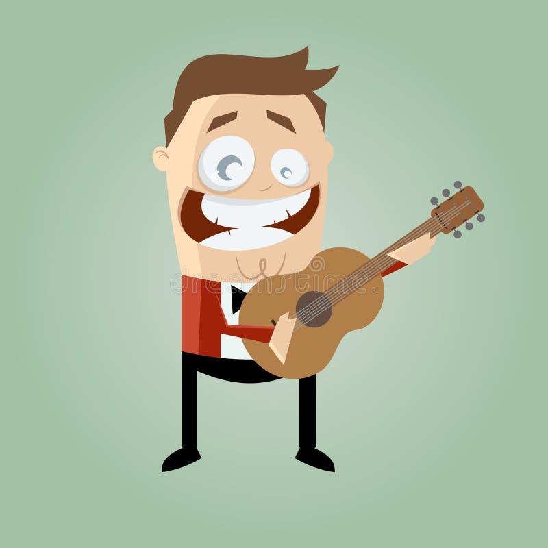 Lustiger Gitarrist stock abbildung