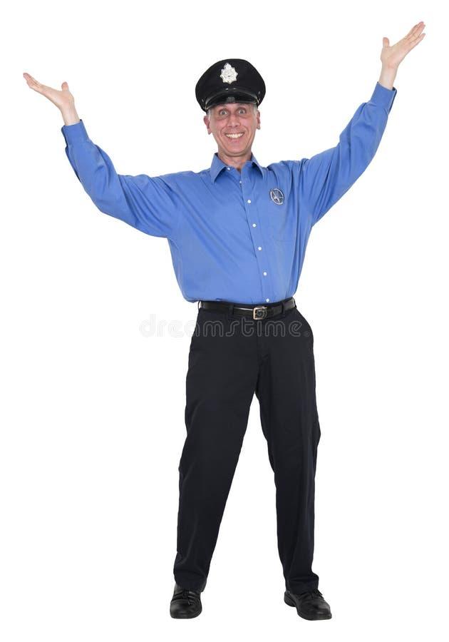 Lustiger glücklicher Polizist, Bulle, Sicherheitsbeamte, lokalisiert stockfoto