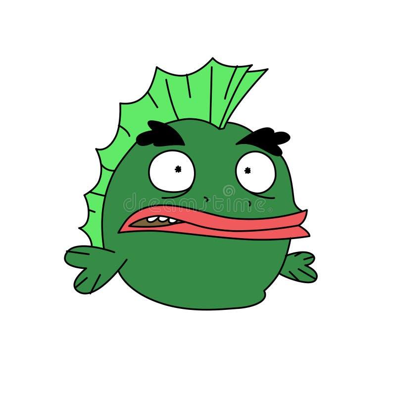 Lustiger grüner Fischcharakter Vektor Flache Art Frosch mit einem Hasen Karikaturamphibie Heldmaskottchen für ein Geschäft für Ha lizenzfreie abbildung
