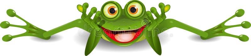 Lustiger Frosch ist auf seinem Magen lizenzfreie abbildung