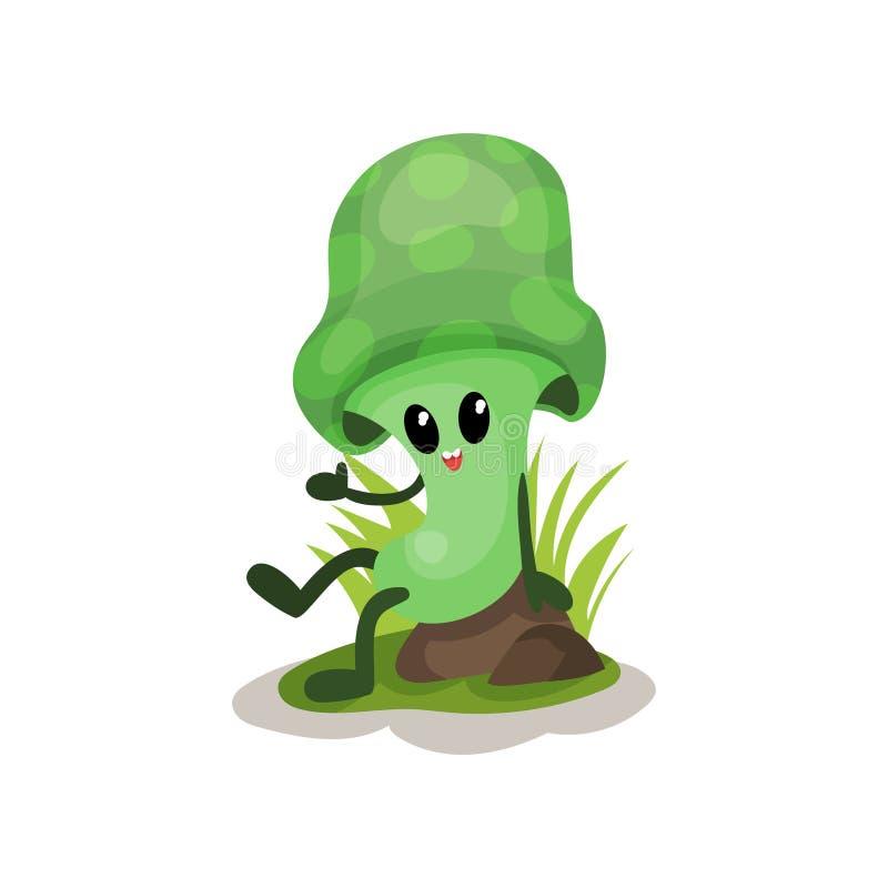 Lustiger grüner Pilzcharakter mit dem menschlichen Gesicht, das auf Stumpfvektor Illustration auf einem weißen Hintergrund sitzt lizenzfreie abbildung