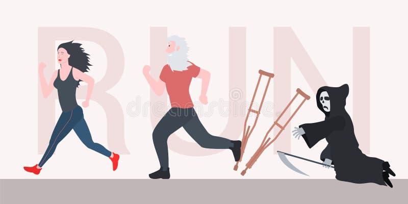 Lustiger Großvater des alten Mannes läuft für ein schönes Mädchen, das läuft Laufend es heilt und Tod kann nicht aufholen lizenzfreie abbildung