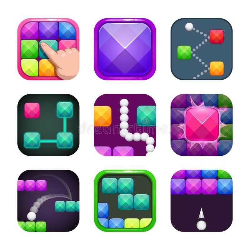 Lustiger heller bunter quadratischer Appikonensatz Anwendungsspeicher-Logobeispiele vektor abbildung