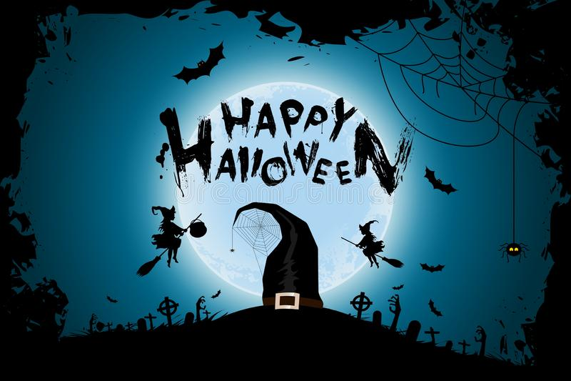 Lustiger Hintergrund Halloweens mit Hexen und Mond lizenzfreie abbildung