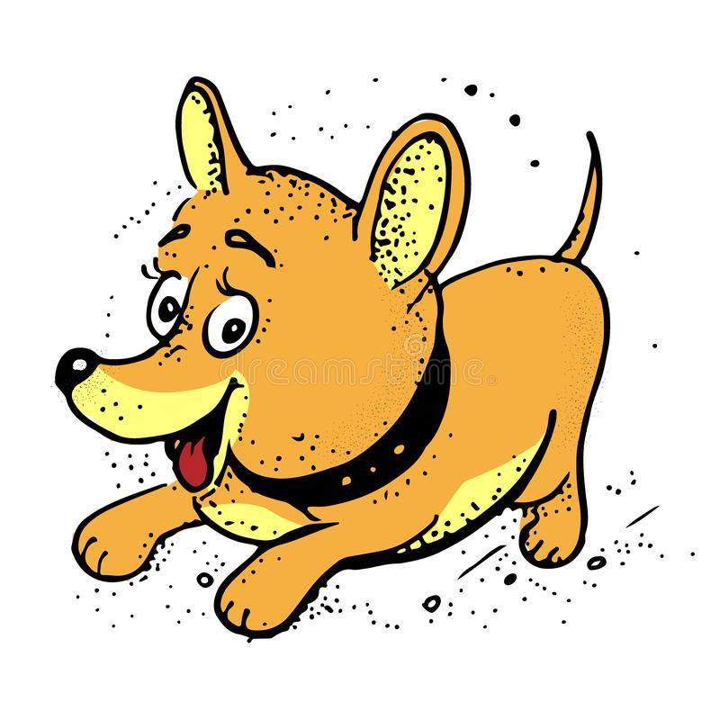 Lustiger Hund, glücklicher Hund Karikatur-Vektorillustration lokalisiert auf weißem Hintergrund stock abbildung