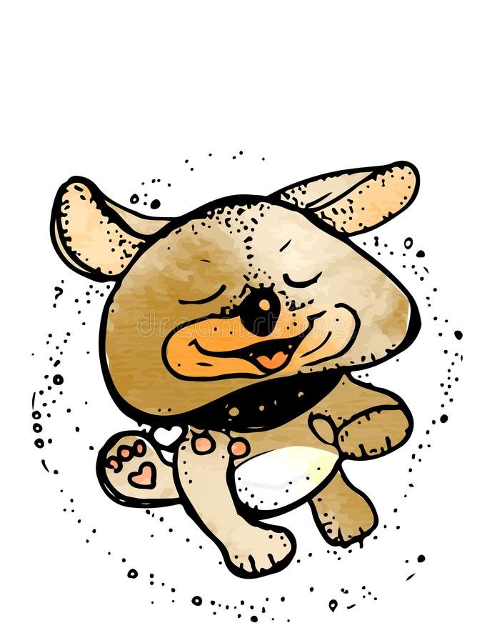 Lustiger Hund Netter Karikaturhund Hundeheld Vektor stock abbildung