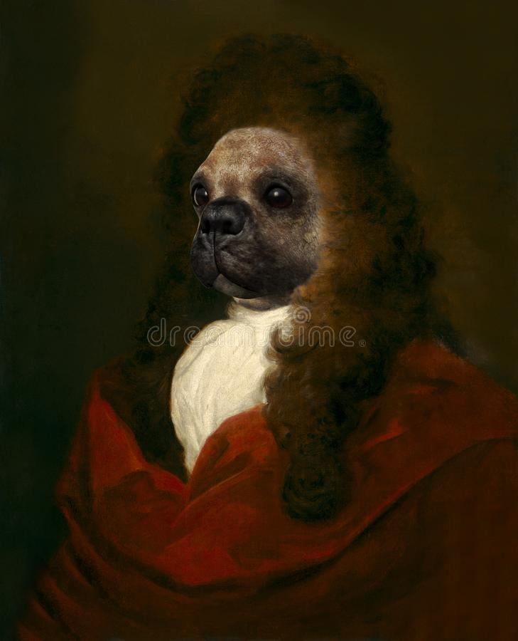 Lustiger Hund, Renaissance-Menschen-Parodie lizenzfreies stockfoto