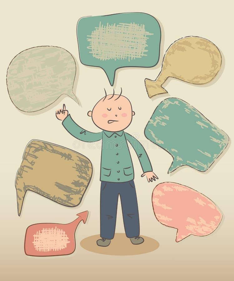 Lustiger intelligenter Junge mit Spracheblasen lizenzfreie abbildung