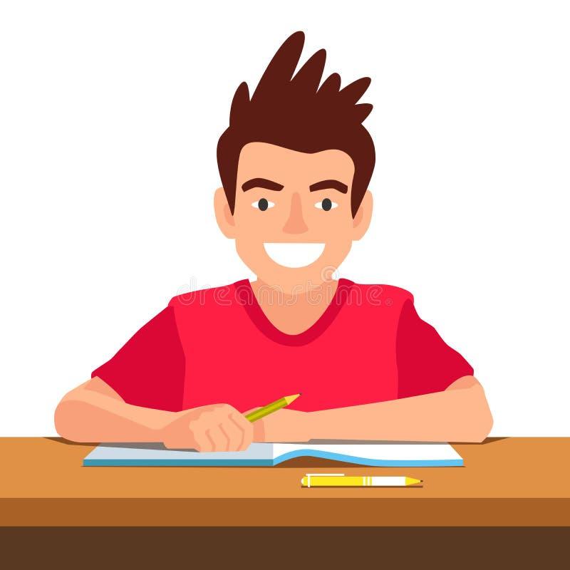 Lustiger Junge, der am Schreibtisch in der Schule sitzt stock abbildung
