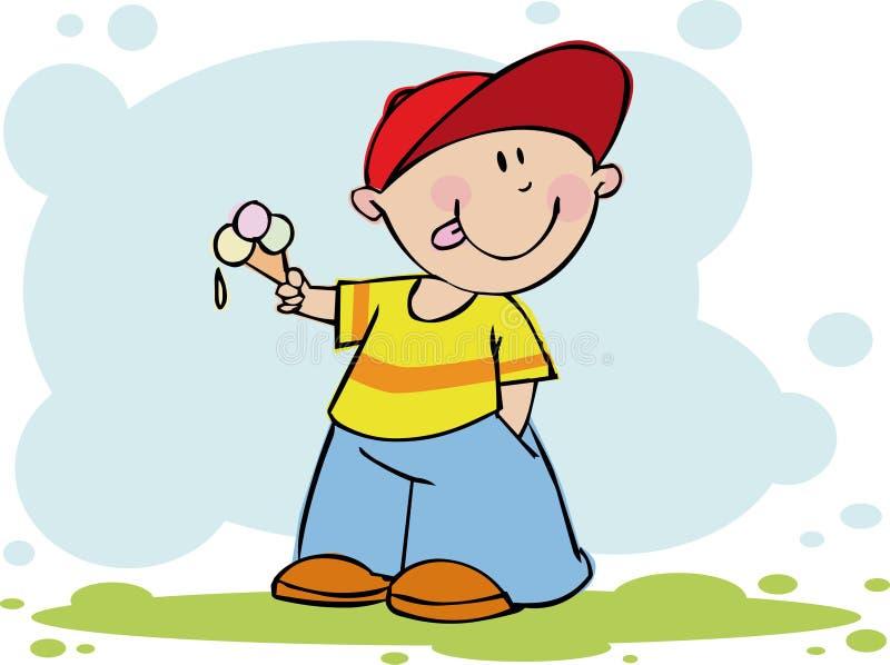 Lustiger Junge mit Eiscreme stock abbildung
