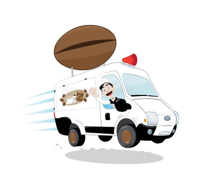 Lustiger Kaffeepackwagen gefahren von einem freundlichen zujubelnden und lächelnden Kellner vektor abbildung