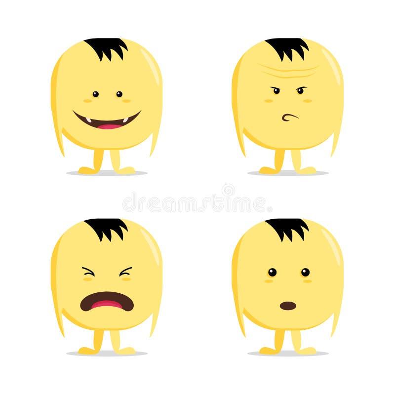 Lustiger Karikaturgelbzeichensatz, auf Weiß, Vektorgefühlaufkleber vektor abbildung