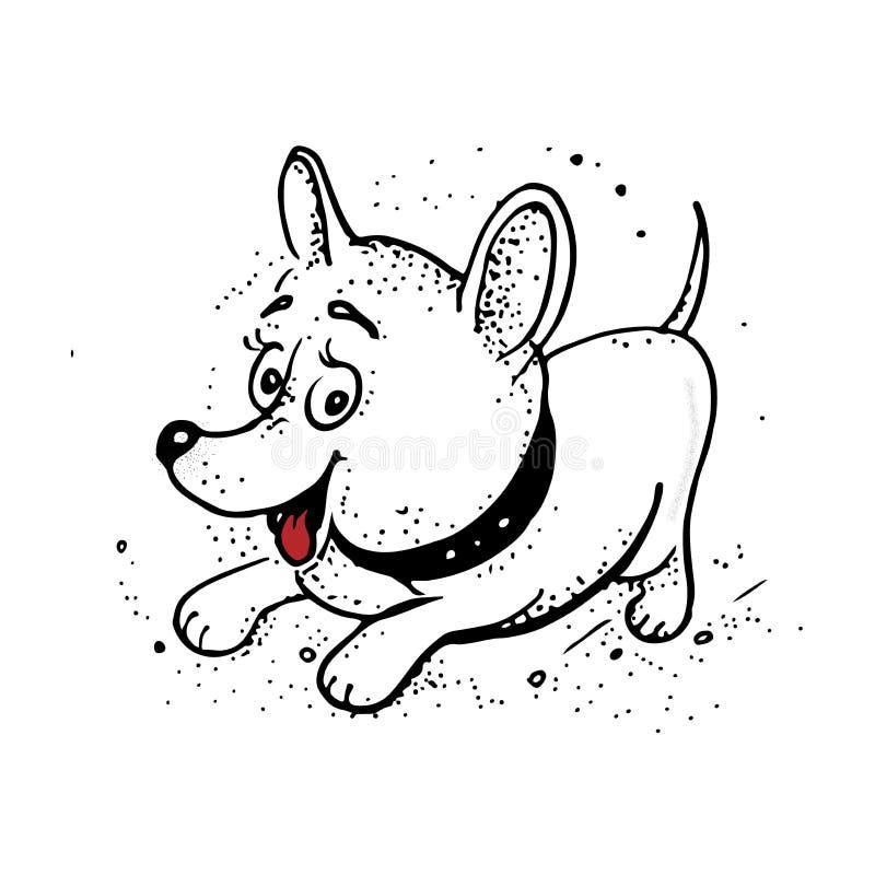 Lustiger Karikaturhund Handzeichnung lokalisierte Gegenstände auf weißem Hintergrund lizenzfreie abbildung