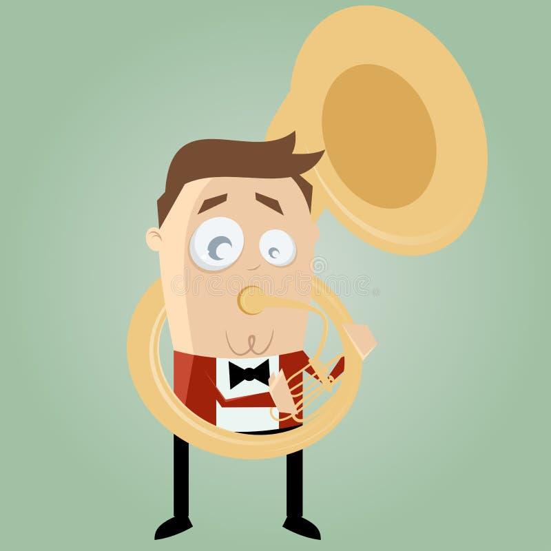Lustiger Karikaturmann, der Tuba spielt vektor abbildung
