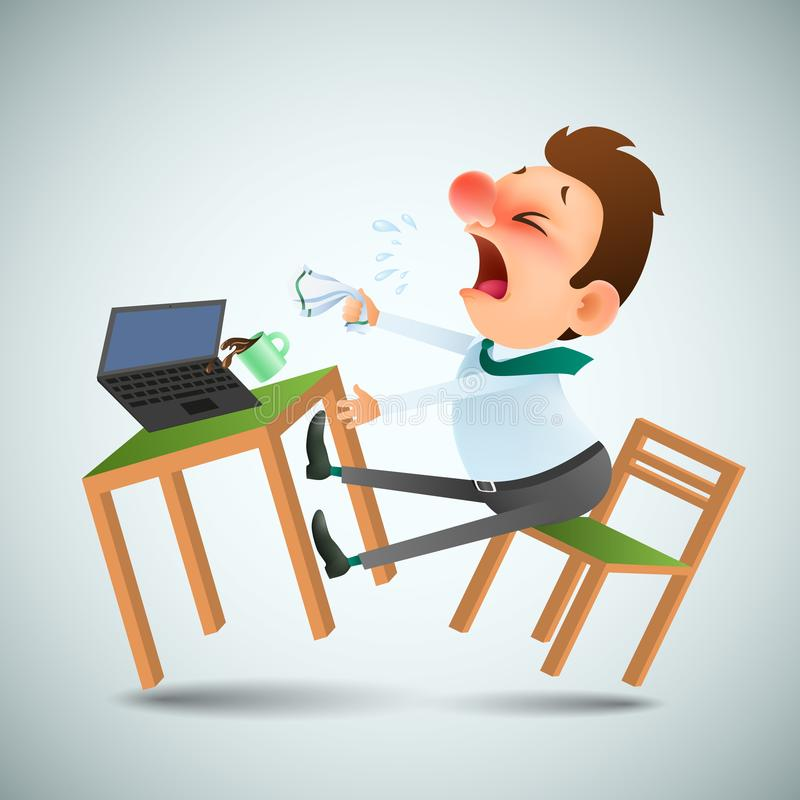 Lustiger Karikaturmann ist krank und niest an dem Arbeitsplatz lizenzfreie abbildung