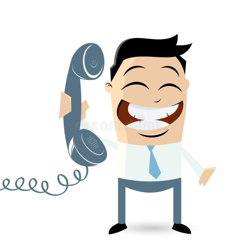 Lustiger Karikaturmann mit Telefon lizenzfreie abbildung