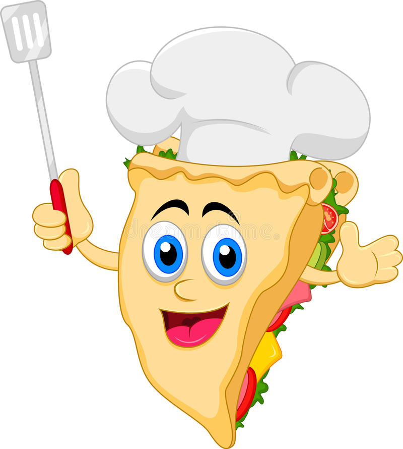 Lustiger Karikatursandwich-Chefcharakter vektor abbildung