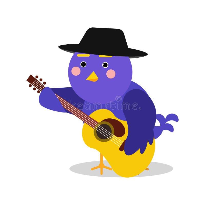 Lustiger Karikaturvogelcharakter, der Gitarre, blauen Vogel in geometrischer Formvektor Illustration spielt stock abbildung