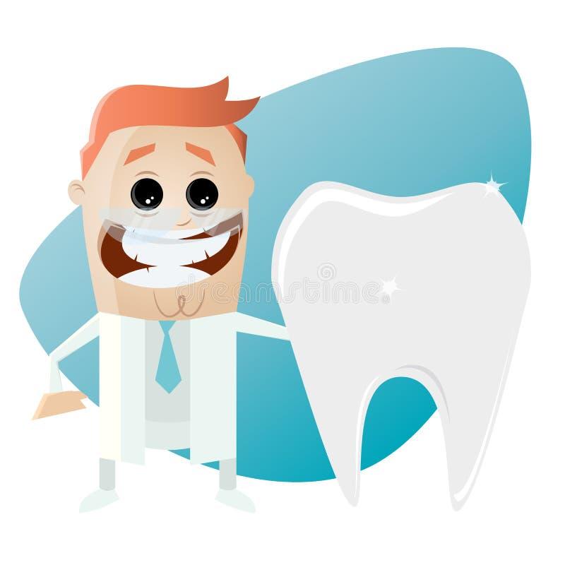 Lustiger Karikaturzahnarzt mit dem großen Zahn stock abbildung