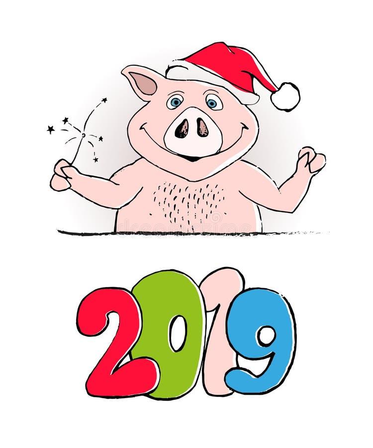 Lustiger Kartenentwurf des guten Rutsch ins Neue Jahr 2019 mit Karikaturschweindruck Frohe Weihnachten stock abbildung