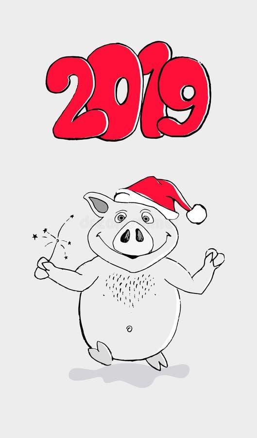 Lustiger Kartenentwurf des guten Rutsch ins Neue Jahr 2019 mit Karikaturschweindruck Frohe Weihnachten vektor abbildung