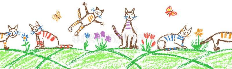 Lustiger Katzensatz der getigerten Katze Nahtloser Grenzhintergrund Zeichenstift wie gezogenes nettes K?tzchen der Kinderhand auf lizenzfreie stockfotografie