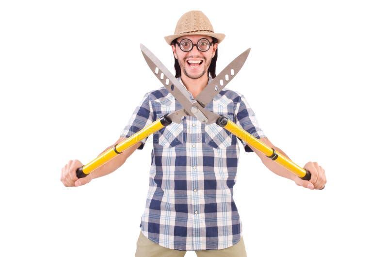 Lustiger Kerl mit Gartenscheren lizenzfreie stockfotografie