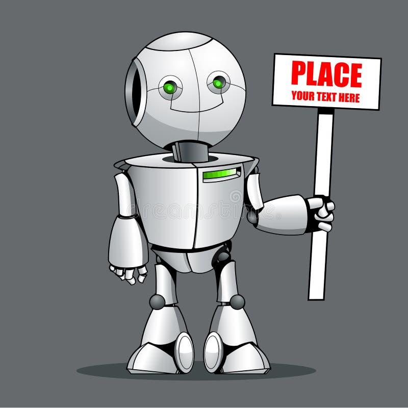 Lustiger Kinderroboter, der hier Platz Ihren Text zeigt lizenzfreie abbildung