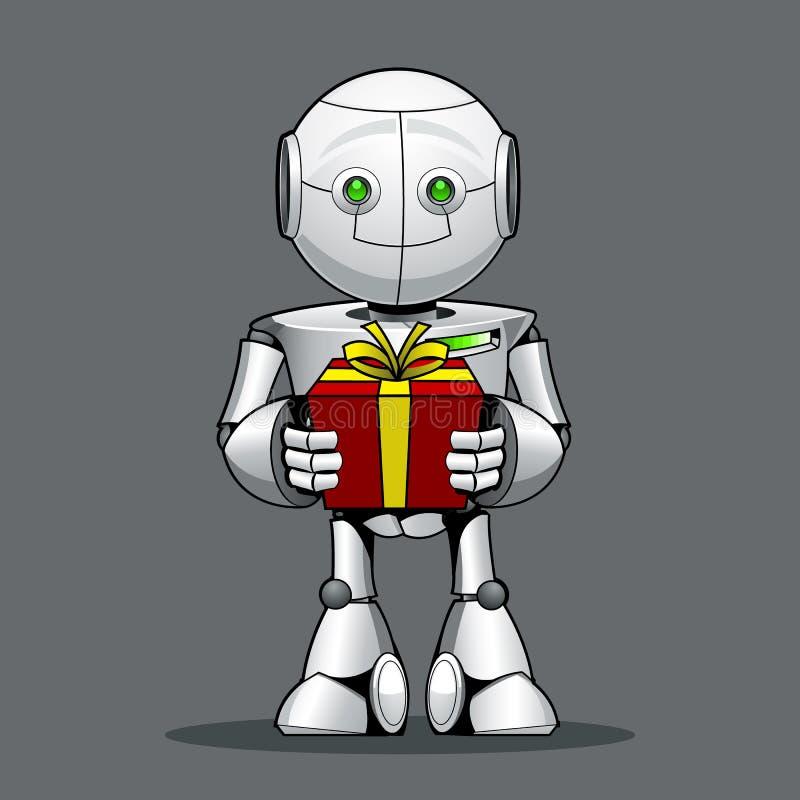 Lustiger Kinderroboter, mit einem Geschenk in der Hand lizenzfreie abbildung