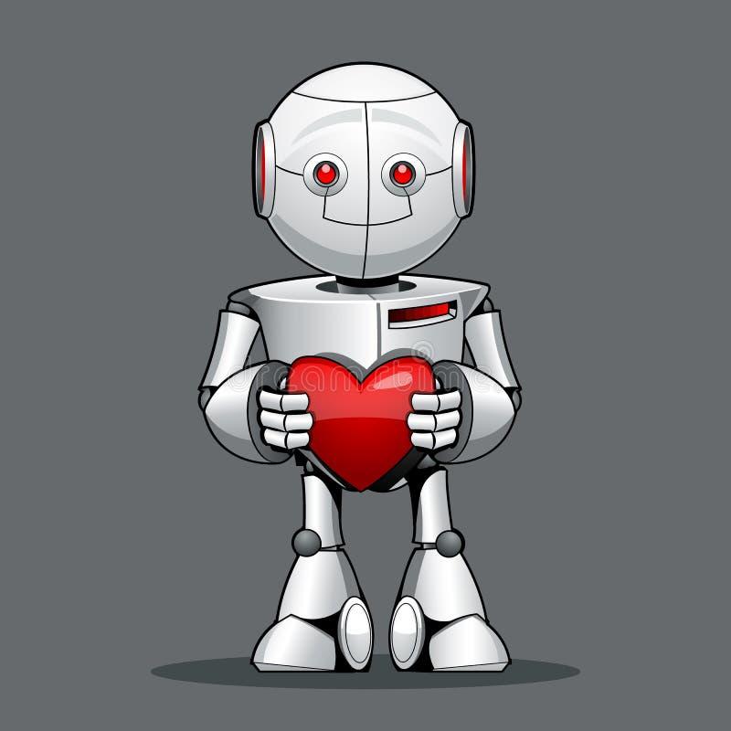 Lustiger Kinderroboter, mit einem Herzen in seiner Hand lizenzfreie abbildung